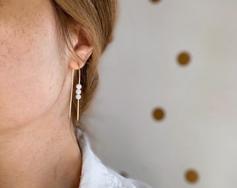 Long arch hoops in peach moonstone gold filled rose gold filled sterling silver modern easy light earrings summer fresh arc