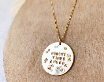 Groovy Times Ahead big gold filled disc necklace flower power boho mama good times