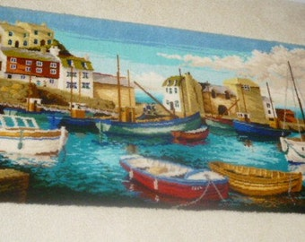 Vintage Picture rug-wall hanging harbour scene