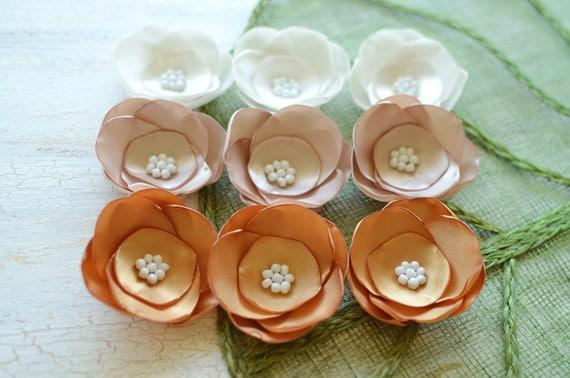 3pcs Satin fabric flowers satin wedding flowers small satin roses silk flower appliques bulk flower embellishment - TEAL and GOLD ROSES