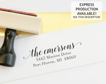 Address Stamp - Self Inking Return Address Stamp - rubber stamp - Custom and Personalized Stamp, Housewarming gift - emerson