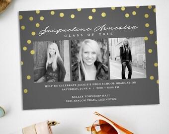 Graduation party invitation - graduation announcement - gold foil confetti graduation party invitation