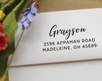 Return Address Stamp - calligraphy rubber stamp - Custom and Personalized Stamp, wedding gift