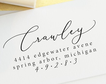 Whimsical Calligraphy Return Address Stamp - Mixed Modern Handwritten and type - custom address stamp - personalized self ink