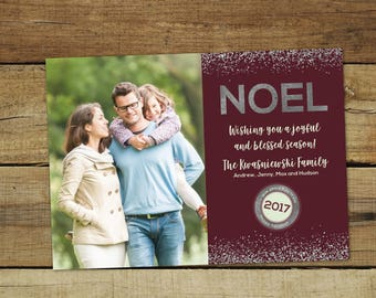 Noel sparkle Christmas card, sparkly silver holiday card with a silver glitter look