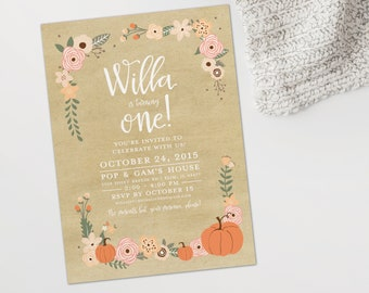 Fall birthday party invitation, pumpkin birthday party invite, fall-themed birthday party invitation, birthday printable invitation