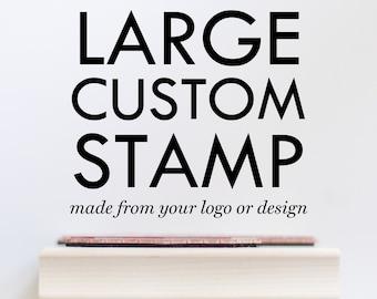 "Large Custom Stamp - 4"" 5"" 6"" 7"" or 8"" Custom Logo Stamp - Custom Rubber Stamp Large Custom Stamps - Business Stamp - Bag Stamp"