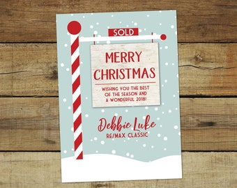 Realtor cards etsy realtor christmas card holiday card for real estate agents red and white sold sign m4hsunfo