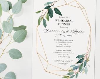Greenery Gold Rehearsal Dinner Invitation - White Rehearsal Invitation with Greenery and Gold - Wedding Rehearsal Printable