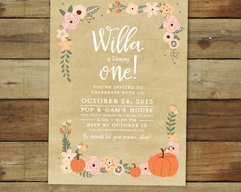 The best in invitations photo cards by saralukecreative on etsy pumpkin birthday party invitation fall birthday peach and coral pumpkin first birthday party invitation 1st birthday printable invitation filmwisefo