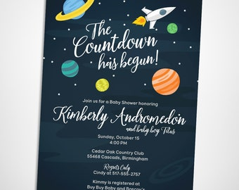 outer space baby shower invitation starry skies planets and rocket ship
