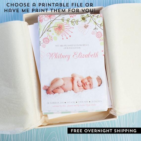 Modern Birth Announcement Baby Photo Card Custom Baby Etsy