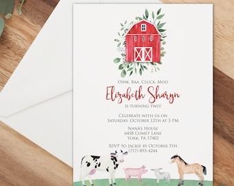 Barn birthday invitation with farm animals, Oink Baaa Cluck Moo Birthday party invitation, printable or printed cards