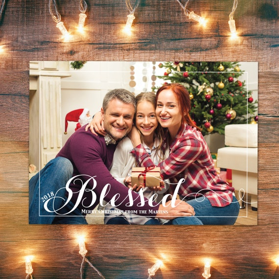 Blessed Christmas Card Holiday Photo Card Printable Blessed Etsy