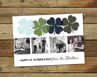 St. Patrick's Day photo card, mod clovers