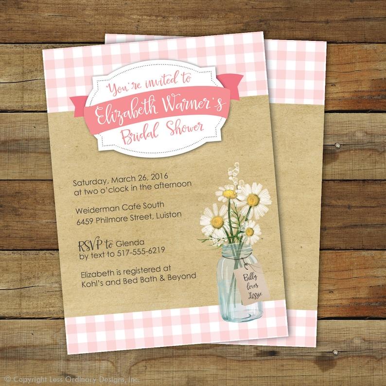 Picnic Bridal Shower Invitation  Pink Gingham Bridal shower  image 0