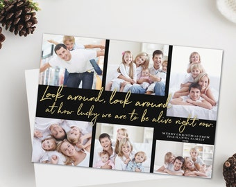 Photo Christmas card, Look around at how lucky we are Christmas card, printable or printed cards