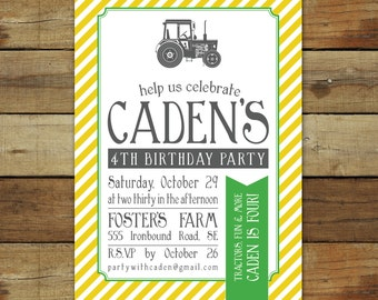 Tractor birthday party invitation, vintage tractor invitation - custom farm birthday invitation, vintage tractor