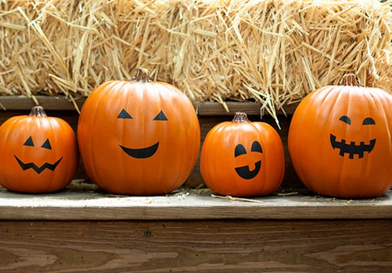 10 Pumpkin Faces Happy Halloween Pumpkin Stickers Happy Faces Etsy