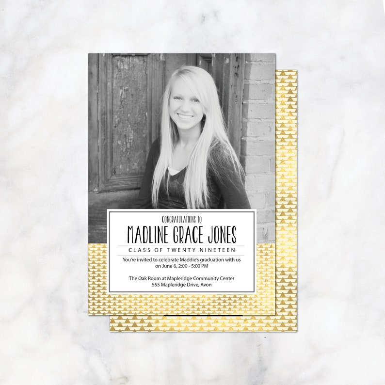 printable or printed Gold graduation announcement and graduation party invitation class of 2019 graduation photo card