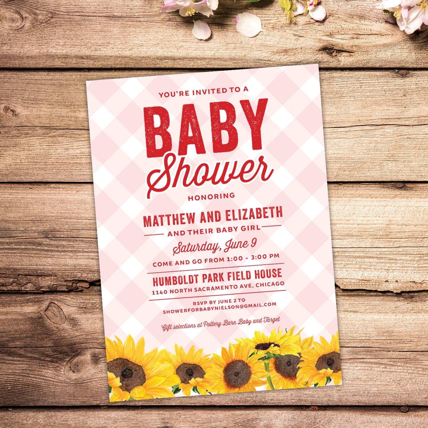 Baby Shower Invitation Pink Gingham with sunflowers Picnic | Etsy