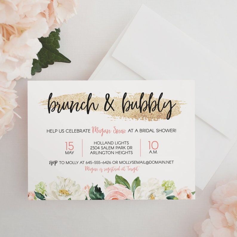 Brunch & Bubbly Bridal Shower Invitation  Gold and blush pink image 0
