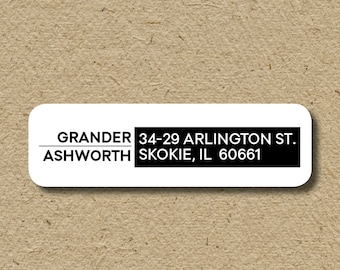Return address label with two different last names, self-adhesive return address sticker, return address sticker for moving in together
