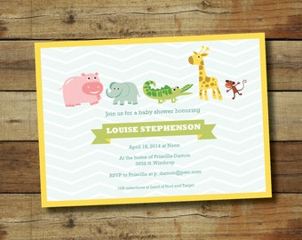 Animal baby shower invitation, jungle theme baby shower, no gender known, gender neutral baby shower