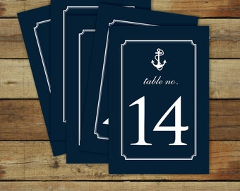 Nautical table numbers - nautical wedding table numbers - navy anchor table numbers - instant download