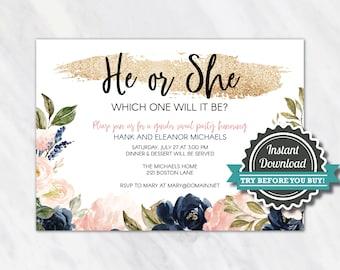 Gender Reveal invitation - Navy blue and pink gender reveal invite - gender reveal invites - reveal party invitation  instant download corjl