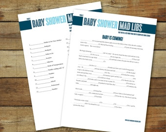 Baby shower game - Baby shower Mad Libs, instant download, printable baby shower game, Mad Libs in blue