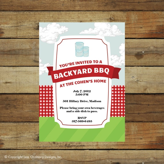 Items Similar To Modern Picnic Or BBQ Invitation, Fourth