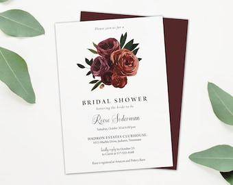 Simple Bridal Shower Invitation - Burgundy Roses Fall Wedding Shower Invite - Burgundy Autumn Wedding Shower Invite - Printable or printed