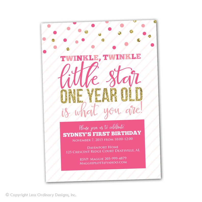 Twinkle First Birthday Party Invitation Pink And Gold