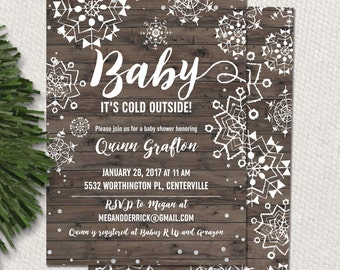 Baby it's cold outside baby shower invitation for a snowflake themed baby shower, printable baby shower invitation for winter