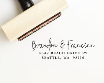 Custom rubber stamp with first names or family name, Custom address stamp, housewarming gift, self inking return address stamp
