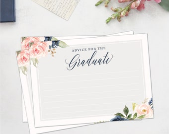 Graduation printable advice cards, printable grad advice instant download, navy and blush floral advice cards for graduation party game