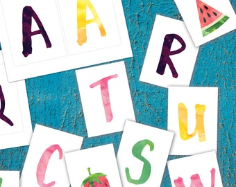 Fruit themed banner for birthday party or baby shower, printable fruit bunting banner, watercolor letters, entire alphabet, instant download