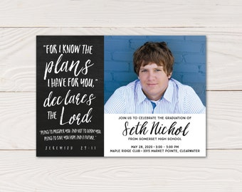 For I know the plans I have for you graduation announcement and invitation, Jeremiah 29-11 graduation photo card
