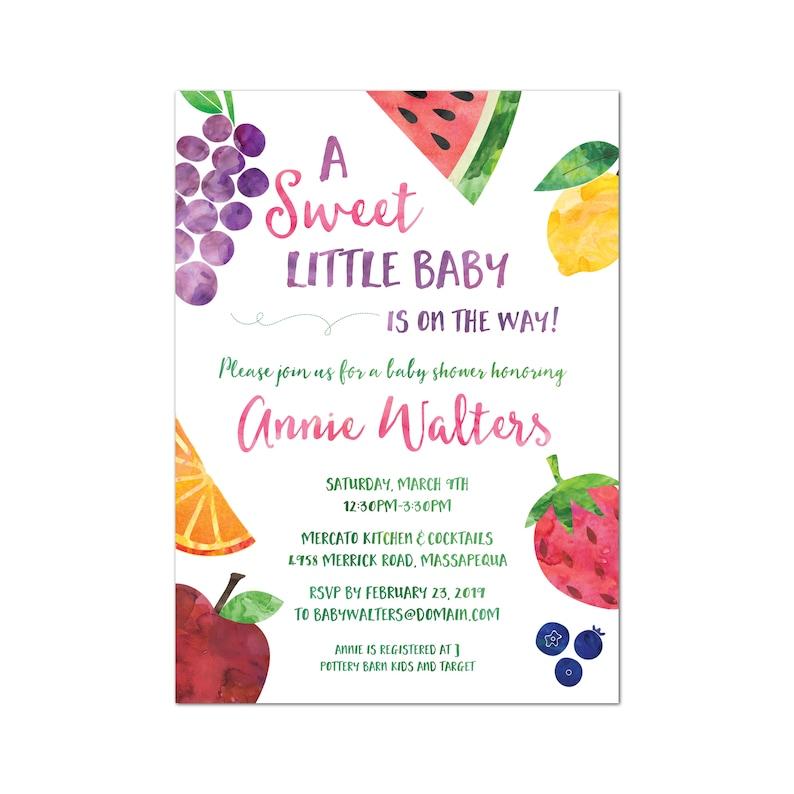 Fruit baby shower invitation sweet baby shower invitation image 0
