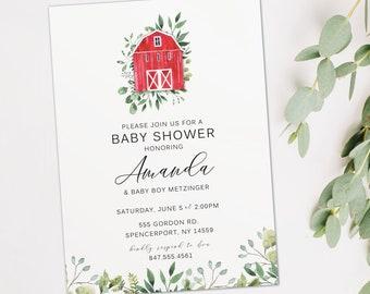 Barn baby shower invitation, Farm themed baby shower invite, Barnyard baby shower