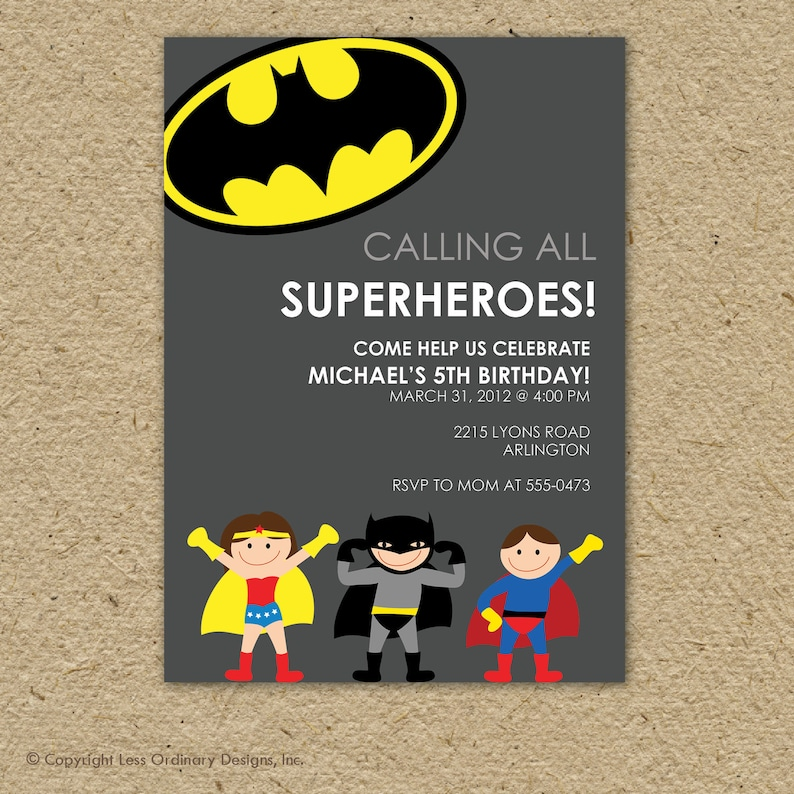 Batman Birthday Invitation Batman Birthday Party Super Hero