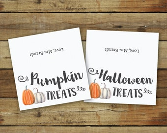 Pumpkin treat bag toppers for Halloween party or fall party tags, watercolor pumpkins, instant download printable