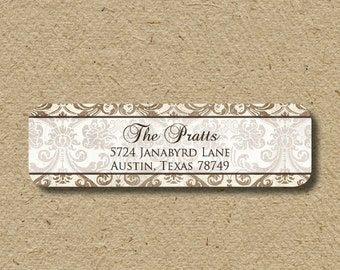 Return address labels - self-adhesive return address stickers with a vintage damask look