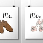 Mr. and Mrs. Fashion Illustration Art Print Set