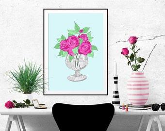 Bright Roses Decorative Illustration Art Poster