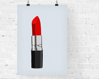 Scarlett Lipstick Fashion Illustration Art Print