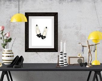Chanel Flats Fashion Illustration Art Poster