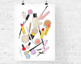 Make Up Girly Fashion Illustration Art Print
