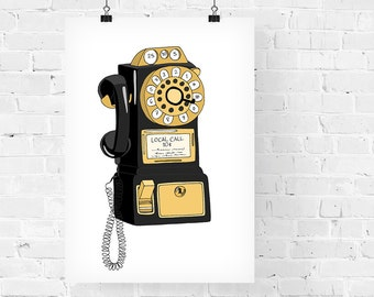 Vintage Telephone Gold Decorative Illustration Art Print